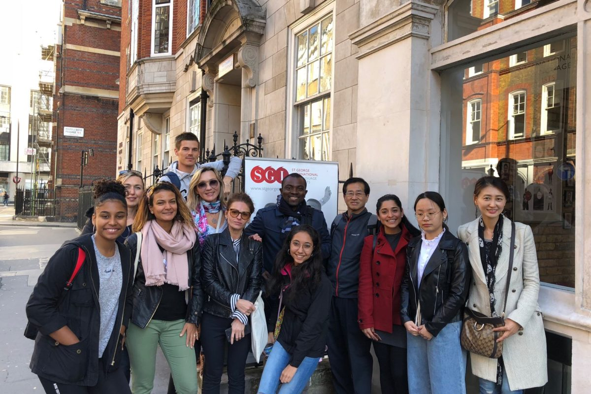 SGI English language school in London students outside school