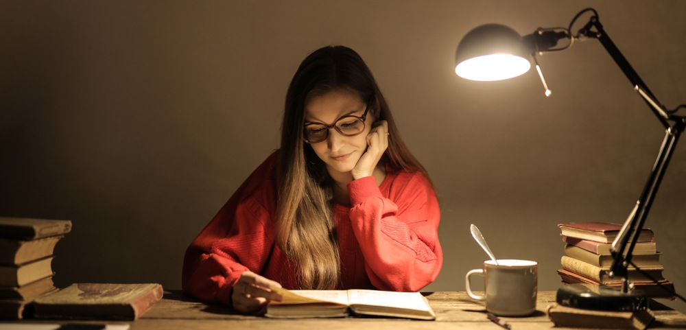 woman studying with